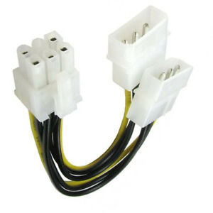 LP4 Molex to 6 Pin PCI Express PCI-E Graphics Card Power Cable Adaptor UK Stock