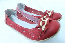 Women's Comfortable Soft Genuine Leather Flats  Slip on Shoes Brass Chain RED