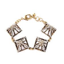 Bracelet Doré Art Deco Triangle Cristal Pyramid 3D Vintage Fin Original CT3