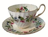 E.B. Foley Bone China Gaiety Cup & Saucer Set Pink Blue Floral Leaves EUC