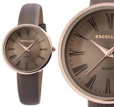 Damen Armbanduhr braun Deep-taupe/rosegold Kunstlederarmband 1900118 Excellanc
