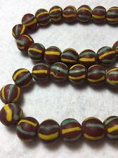 "21"" Vintage 13mm Orange W/Yellow & Aqua Semi Translucent Glass Trade Bead Strand"