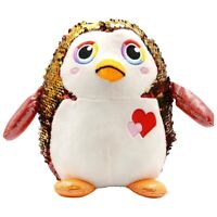 Large Stuffed Animal Toy Reversible Sequins Penguin Doll - 10 inch