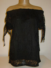 Love J black semi sheer lace off the shoulder top lined short sleeve-S-NEW NWT
