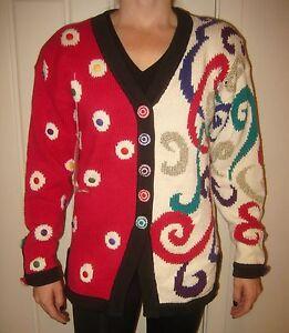 Vtg 80s 90s Christine SEQUINS Fresh Prince ugly Christmas Sweater Womens SMALL