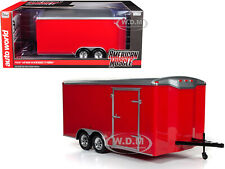 FOUR WHEEL ENCLOSED TRAILER RED WITH SILVER TOP 1/18 MODEL BY AUTOWORLD AMM1218