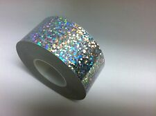 Silver Hologlitter Sequins Holographic Vinyl Adhesive Tape 1 inch  x 25 feet.