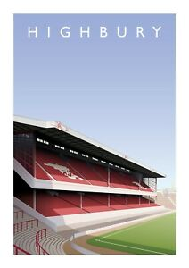 Highbury Stadium A3 Art Illustration Poster - Arsenal Football Club