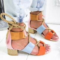 Women's Cute Open Toe Ankle Strap Chunky Heels Sandals Lace Up Shoes Size 5-11