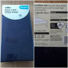 DOUBLE BED FITTED FLAT SHEET BLACK EASY CARE MINIMAL IRON
