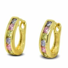 9ct Gold Filled Beautiful Stylish Womens Hoop Earrings Pastel Colour Crystals