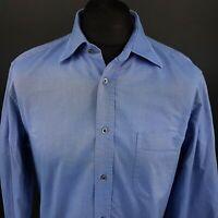 HUGO BOSS Mens Oxford Shirt 42 16.5 (LARGE) Long Sleeve Blue Regular Fit Cotton