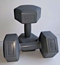 NEW 15LB Set Dumbbells 7.5 Pounds Each (Pair)Flo 360 Color Gray