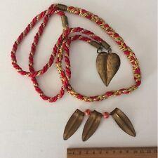 Vintage Brass Gold Leaf Leaves Shape Red  Cord Bead Jewellery Charm/Trinket LOT