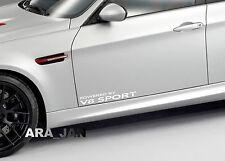 Powered by V8 SPORT Racing Vinyl Decal speed car emblem logo door sticker WHITE