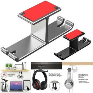 US Aluminum Headphone Hanger Hook Tape Under Desk Dual Headset Mount Holder