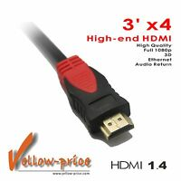 Lot 4x 3FT High-end Ultra High Speed Gold HDMI Cable v1.4 1080p 3D 3 FT x4 1M