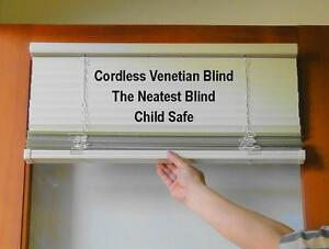 New cordless 25mm aluminium venetian blind; Colour: White (Child safe)