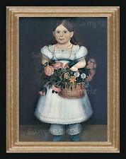 1800's Girl With Flowers Miniature Dollhouse Folk Art Picture