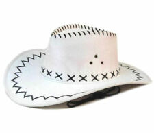 6 WHITE LEATHER COWBOY HAT  hats western wear unisex BULK LOT cowgirl mens lady