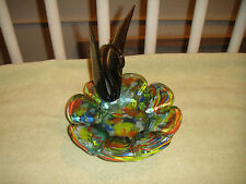 Vintage Murano Glass Swan Candy Dish-Multi Colored Glass-Large Glass Swan-Unique