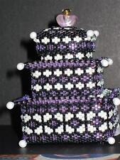 Hand Beaded Pagoda Style 3 tier  Miniature Box...UNIQUE...purples...HANDMADE