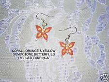 Silver Tone Butterflies Earrings Orange & Yel Butterfly