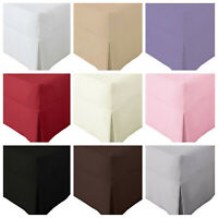 New Percale Non Iron PLATED Valance Fitted  Sheet Pleated Single, Double, King,