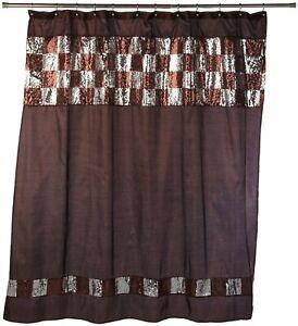 Popular Bath Elite Orb Fabric Shower Curtain Silver Sequin Check Brown NWOP