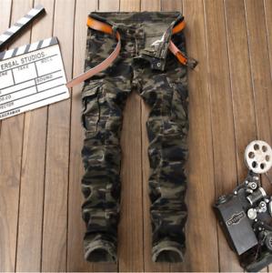Men's Fashion Designed Ripped Skinny Biker Jeans Distressed Slim Fit Denim Pants