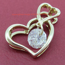 Real Solid 9K Yellow Gold Double Heart Pendant Simulated Diamond Chain Necklace