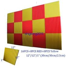 """1""""x12x12 (16 Pack) Yellow/Red Acoustic Wedge Soundproofing Studio Foam Tiles"""