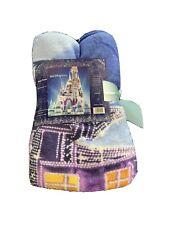 Walt Disney World Blue Disney Lights Cinderella Castle Soft Fleece Throw Blanket
