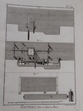 c1800 vintage print TOURNEUR Machine PLANS Benard WOOD TURNING Pl 34 Diderot?