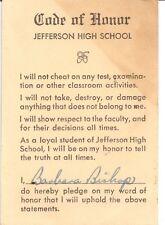 Jefferson High School Roanoke Virginia Code of Honor Barbara Bishop