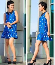 Topshop Blue Squirrel Animal Peter Pan Collar Drop Waist Tunic Dress Vtg 10 6 38