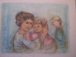 Serenity Artists Proof  and Pastels Lithograph  1990  by Edna Hibel (d. 2014)