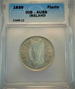 1939 Ireland Silver Florin ICG AU55 Condition KM#15  (511)