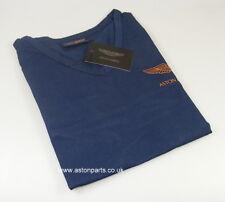 ASTON MARTIN LADIES LONG SLEEVE T-SHIRT BLUE/TAN LOGO SMALL - 702093M.