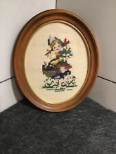 Vintage Needlepoint Picture Little Girl With A Basket/Flowers 12�x10�
