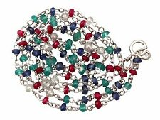 Contemporary Diamond, Sapphire, Ruby, Emerald and 18 k White Gold Necklace