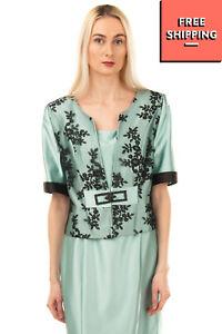 RRP €335 ROMEO GIGLI PLUS Satin Dress Suit Size 48 / XL Rhinestones Lined