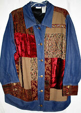 White Stag Women's Long Sleeved Patchwork Denim Jacket Shirt Top Size 18W 20W