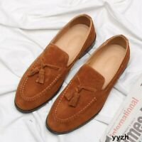Casual Men's Faux Suede Leather Loafers Tassels Slip On Driving Shoes Moccasins