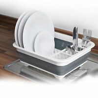 LARGE COLLAPSIBLE DISH DRAINER FOLDING DISH DRAINING BOARD CUTLERY PLATES RACK
