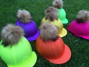 SXC Fluorescent Hat Silk Cover Custom Design Faux Fur Pompom Removable Quality