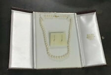 Real Cultured Pearl Necklace With Gold Clasp And Matching Earrings