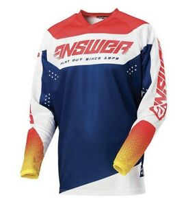 Answer Racing Motocross Jersey 2021 Syncron Charge Yellow/Midnight Blue XL Sale