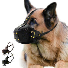 Genuine Leather Anti Bite Dog Muzzle Black Secure Basket Brown German Shepherd