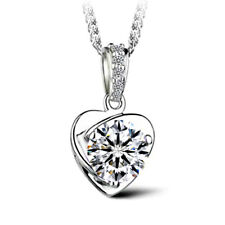Creative Hollow Heart Shaped Natural White Topaz 925 Silver Necklace Pendants